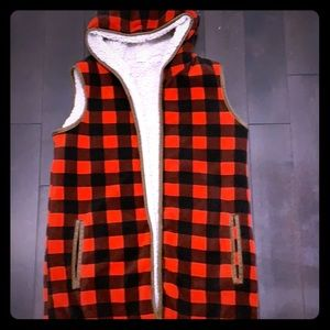 Plaid fleece vest with hood and faux Sherpa lining